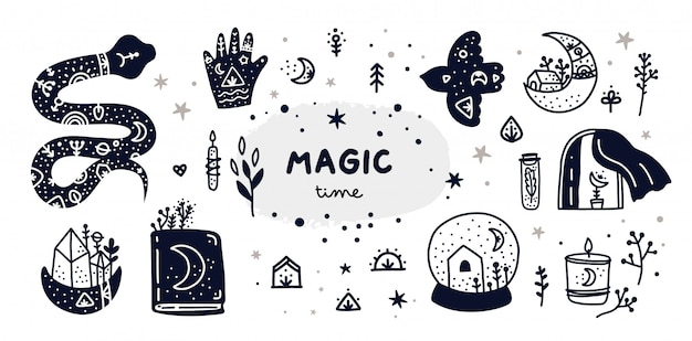 Hand drawn, doodle, sketch boho collection. witchcraft symbols Premium Vector