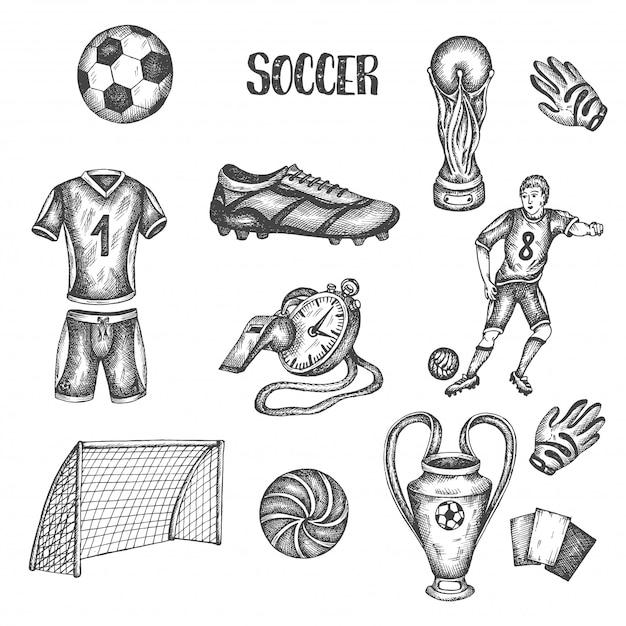 Hand drawn doodle soccer set. vector illustration Premium Vector
