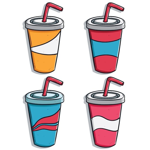 Hand drawn or doodle soda drink cups collection with variant of color Premium Vector