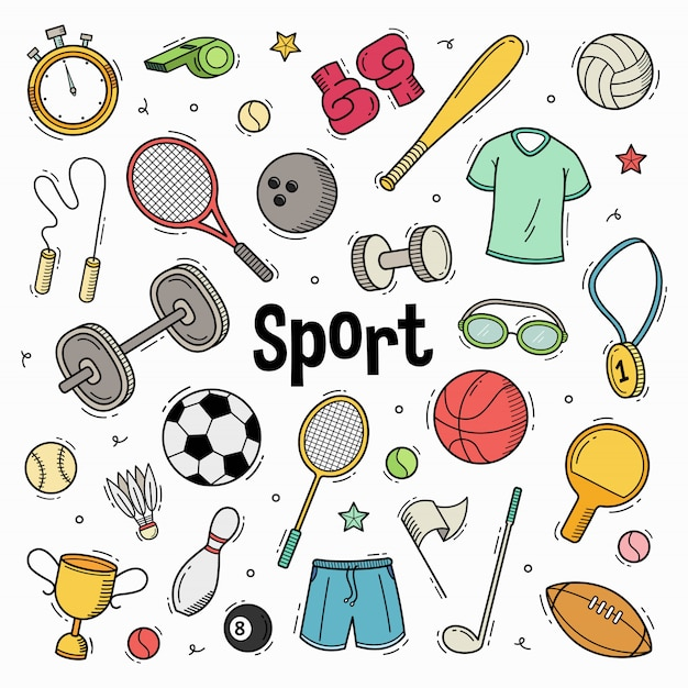Hand drawn doodle sport collection with coloring Premium Vector