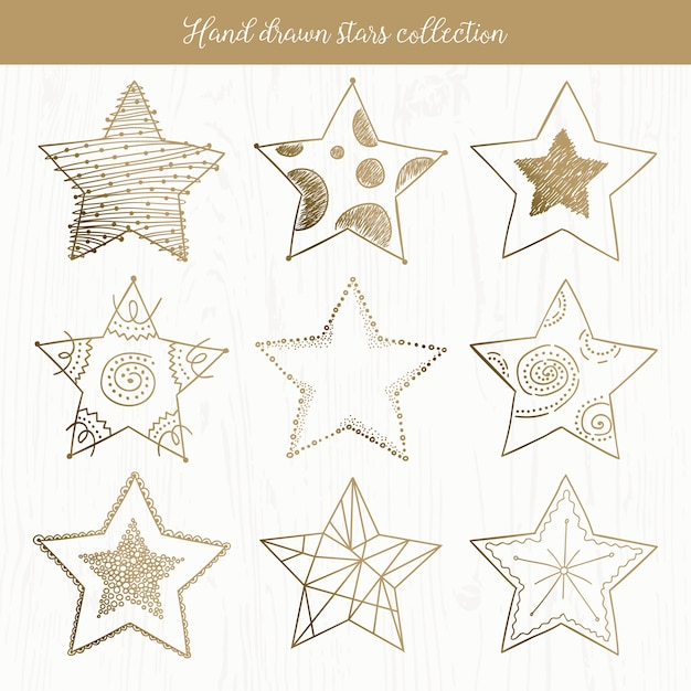 Hand drawn doodle stars collection Premium Vector