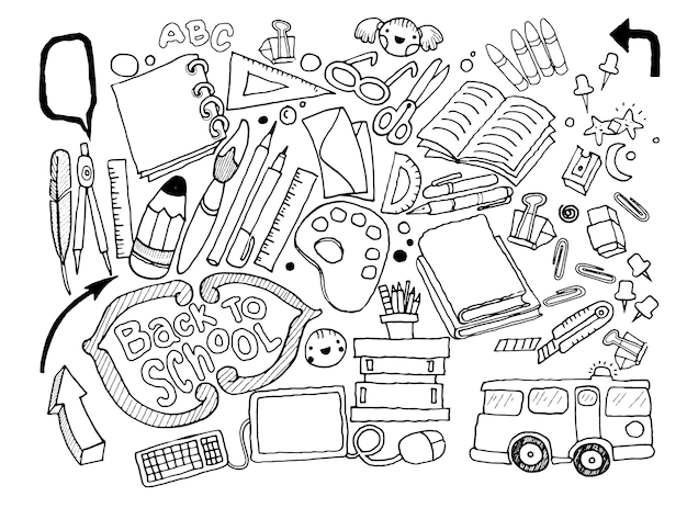 Hand drawn doodle stationery set, illustrator line tools