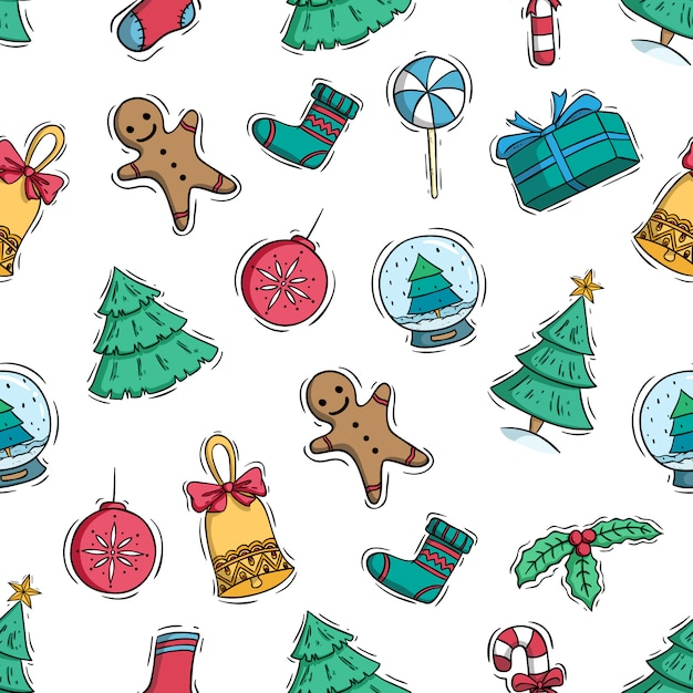 Hand drawn or doodle style of christmas elements in seamless pattern Premium Vector