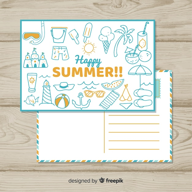 Hand drawn doodle summer postcard Free Vector