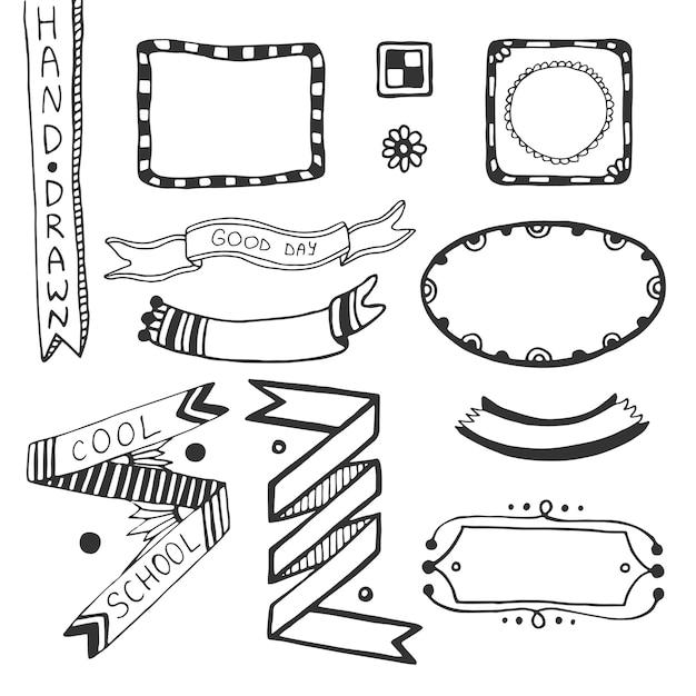 Hand drawn doodle web design elements. Vector set of frames, ribbons ...