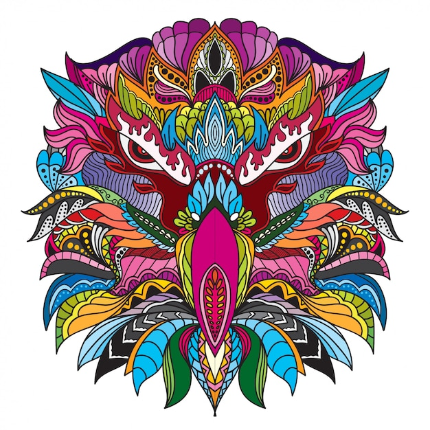 Hand drawn doodle zentangle eagle head illustration-vector. Premium Vector