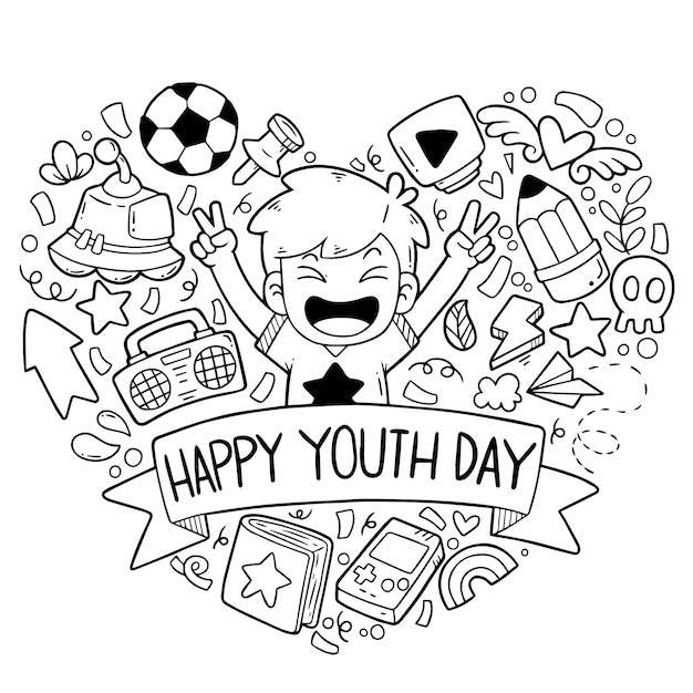 Hand drawn doodles happy youth day ornaments Premium Vector
