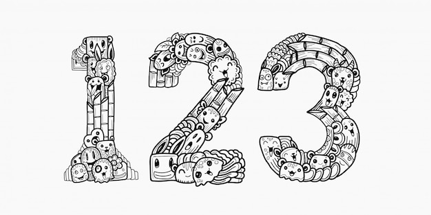 Hand drawn doodles monster numbers Premium Vector