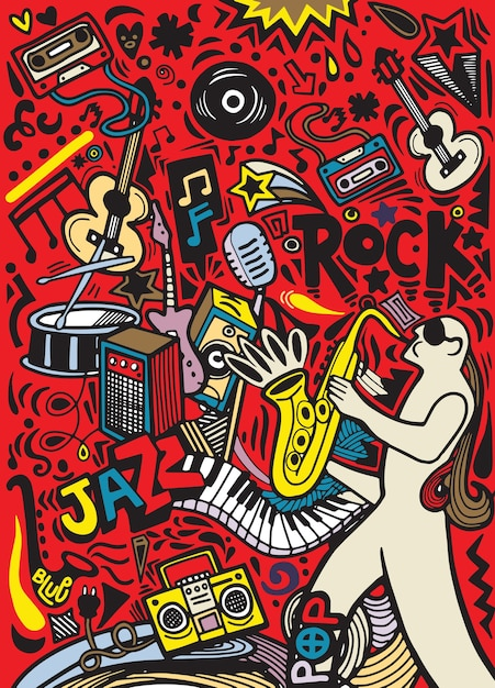 Hand drawn doodles musical poster template.abstract music Premium Vector