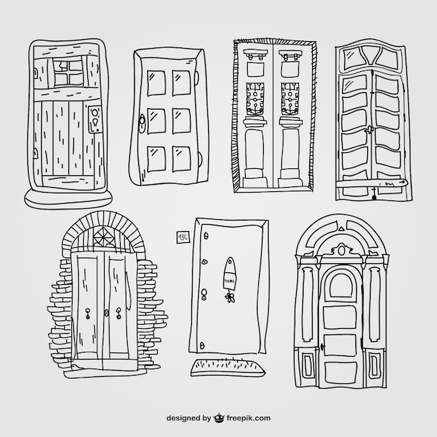 Line Drawing Door : Hand drawn doors collection vector free download