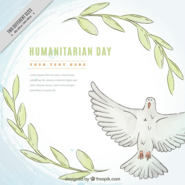 Hand drawn dove and leaves humanitarian day background Free Vector