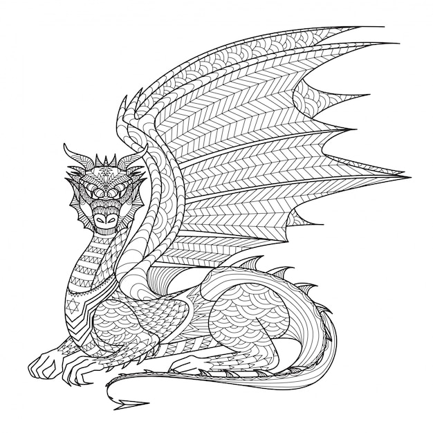 hand drawn dragon background vector  free download