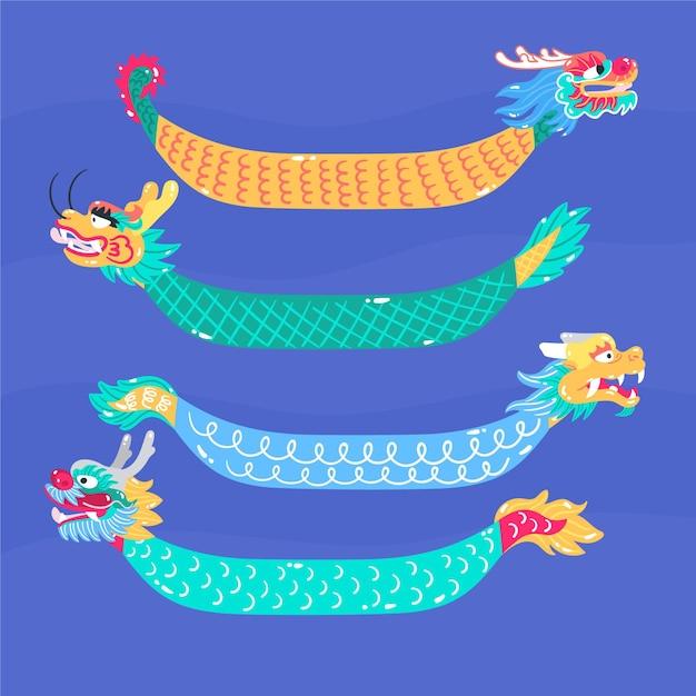 Набор рисованной лодки дракона Бесплатные векторы