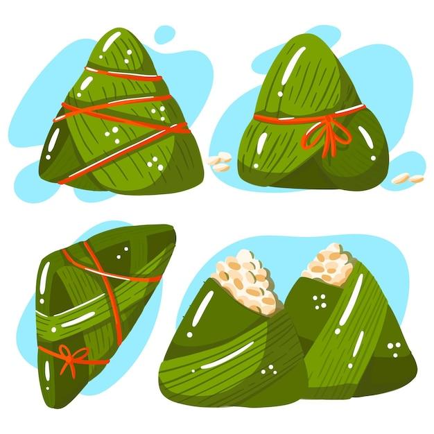 Collezione di zongzi barca drago disegnata a mano Vettore gratuito