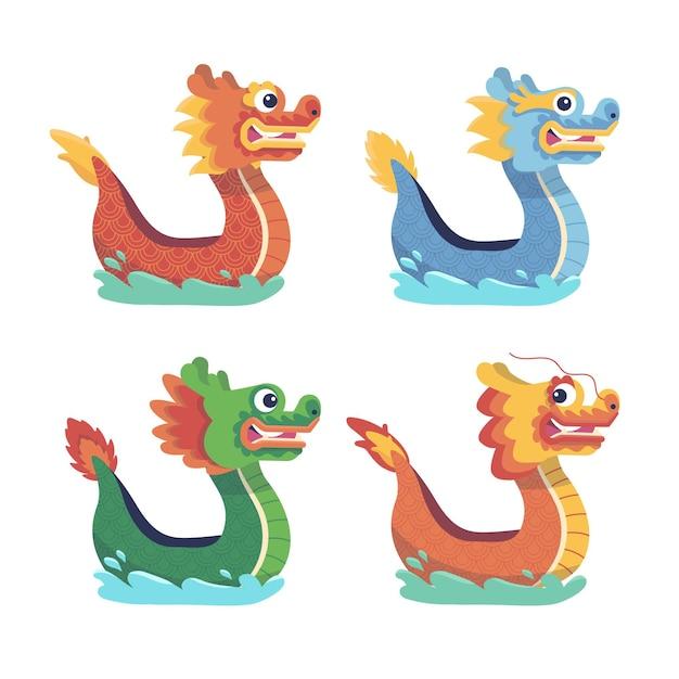 Коллекция рисованной драконьих лодок Бесплатные векторы