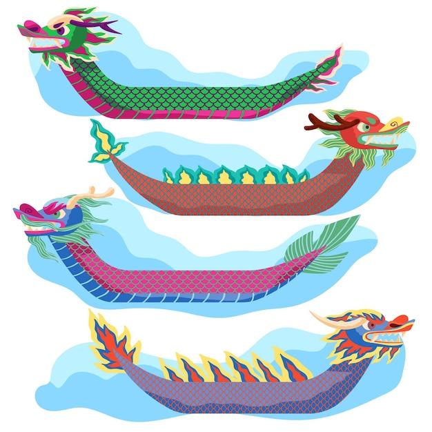 Набор рисованной лодок-драконов Бесплатные векторы