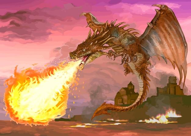 Рисованный дракон Бесплатные векторы