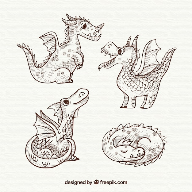 Hand drawn dragons with lovely style Free Vector