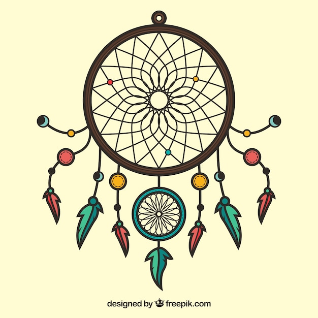 Hand drawn dreamcatcher ornament vector free download for Dream catcher graphic