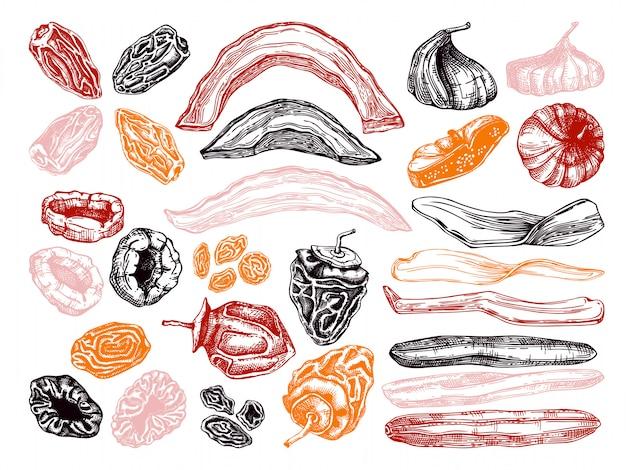 Набор рисованной эскизы сухофруктов. винтажные обезвоженные фрукты в гравированном стиле. вкусный полезный десерт - сушеное манго, дыня, инжир, абрикос, банан, хурма, финики, чернослив, изюм. Premium векторы