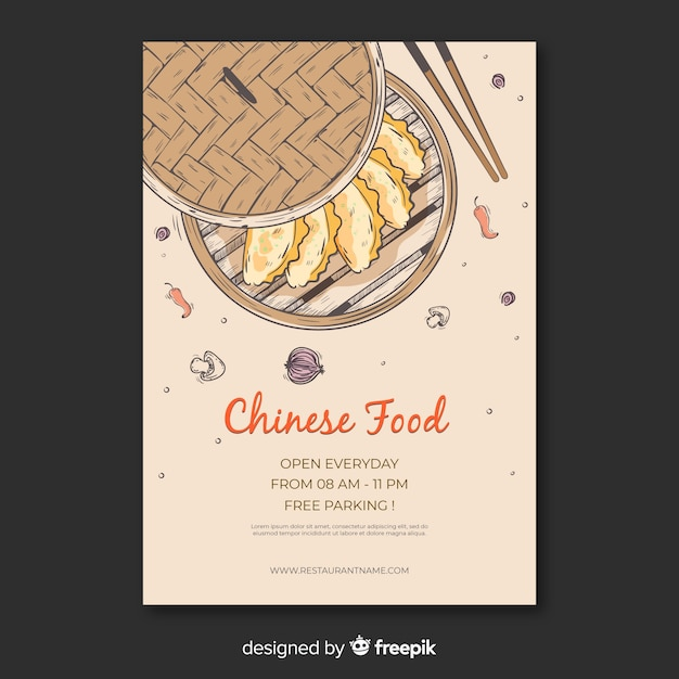 Hand drawn dumpling box chinese food flyer Free Vector