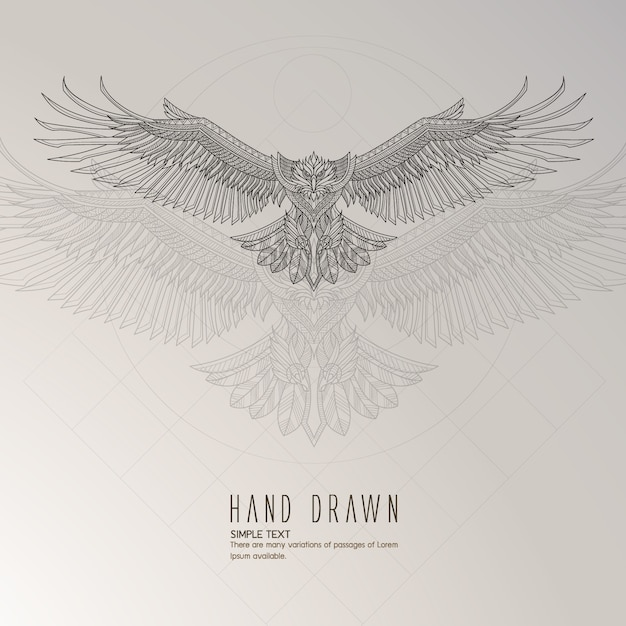 Hand drawn eagle Free Vector