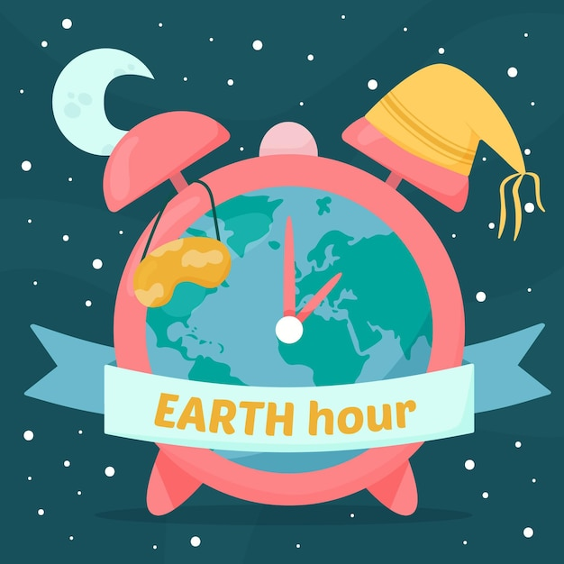 惑星と時計と手描きのアースアワーのイラスト 無料ベクター