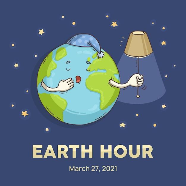 Pianeta assonnato di ora della terra disegnata a mano Vettore gratuito
