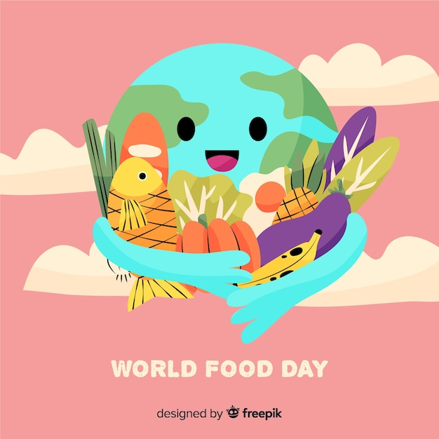 Hand drawn earth hugging food Free Vector