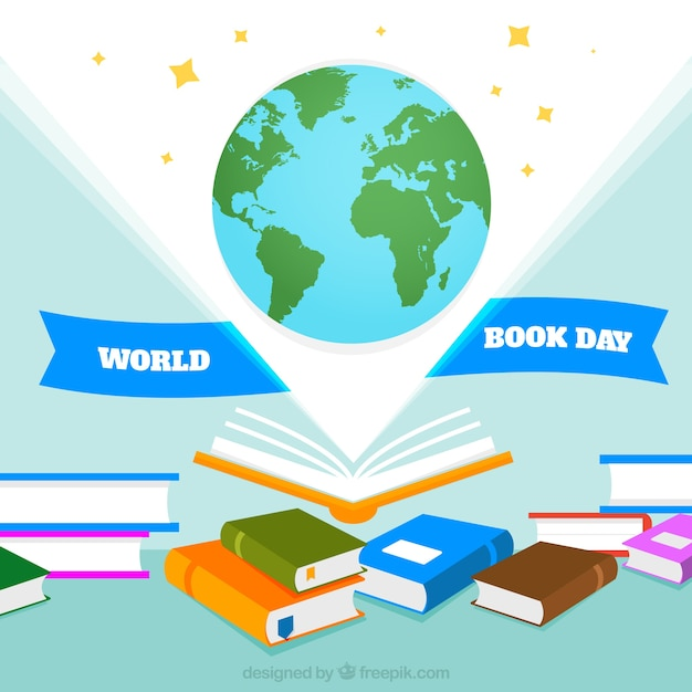 Hand drawn Earth with a lot of books background Free Vector