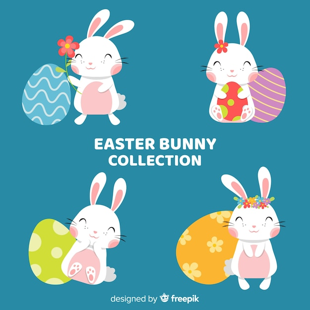 Hand drawn easter bunny collection with eggs Free Vector