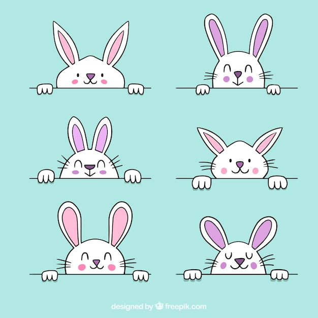 Hand drawn easter bunny collection Free Vector
