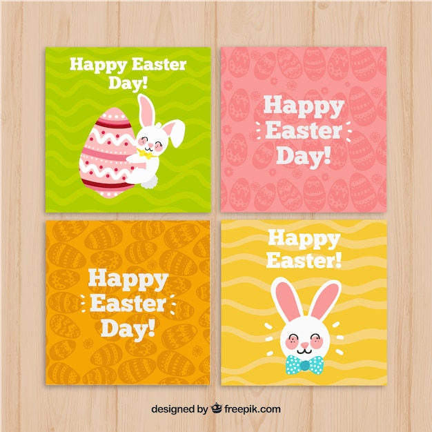 Hand drawn easter card collection Free Vector