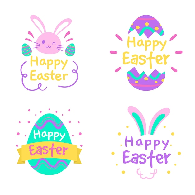 Hand drawn easter day badge collection Free Vector