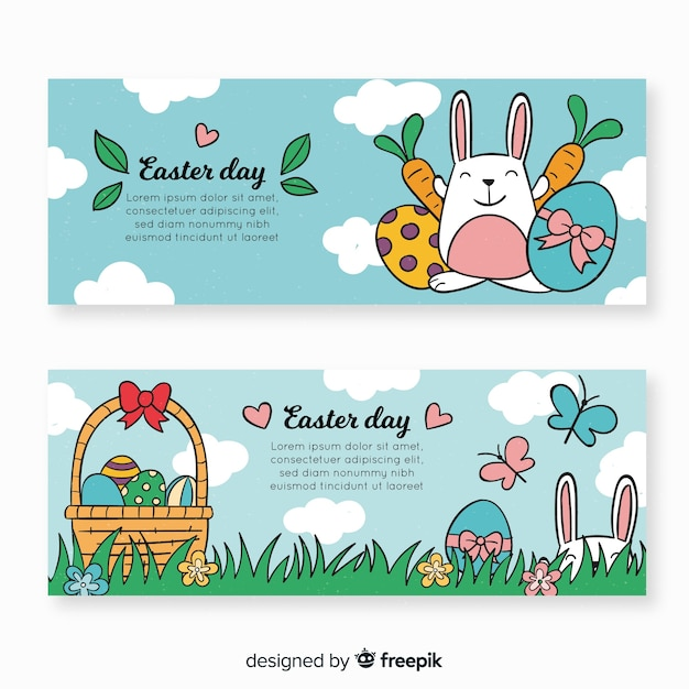 Hand drawn easter day banner Free Vector