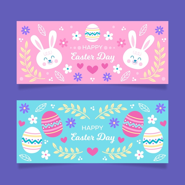 Hand drawn easter day banners set Free Vector