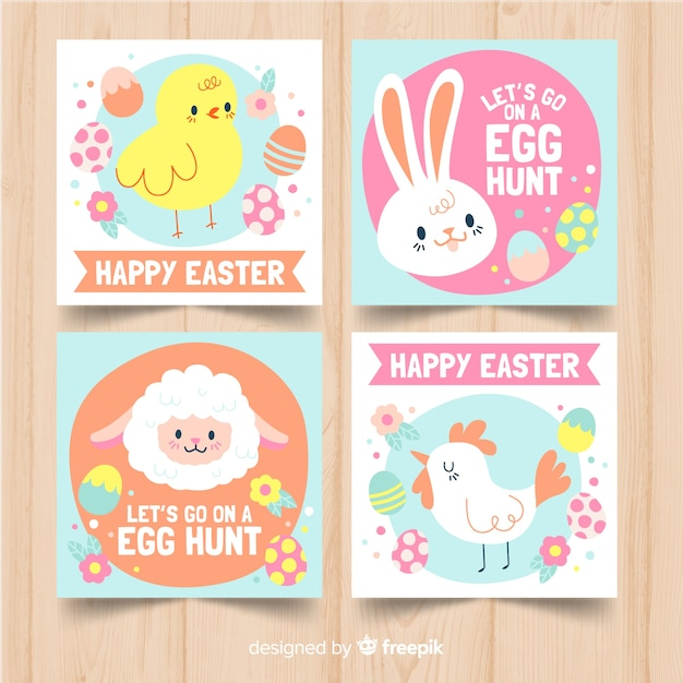 Hand drawn easter day card collection Free Vector