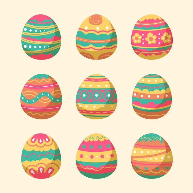 Hand drawn easter day egg collection Free Vector