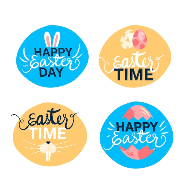 Hand-drawn easter day label collection Free Vector