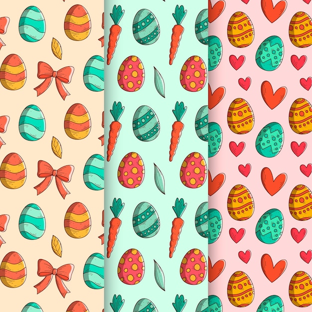 Hand-drawn easter day pattern collection concept Free Vector