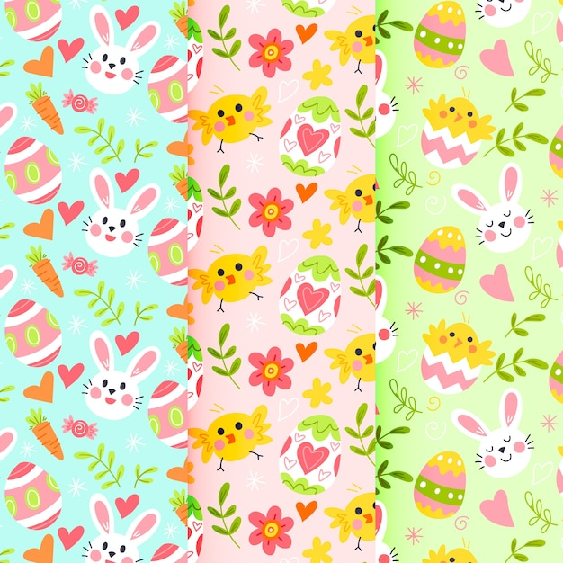 Hand-drawn easter day pattern collection design Free Vector