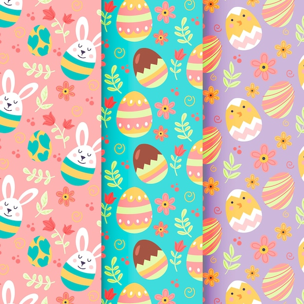 Hand-drawn easter day pattern collection theme Free Vector