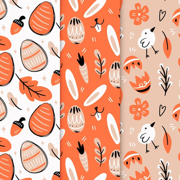 Hand-drawn easter day pattern collection Free Vector