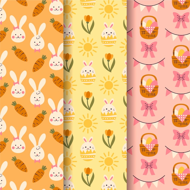 Hand drawn easter day pattern collection Free Vector