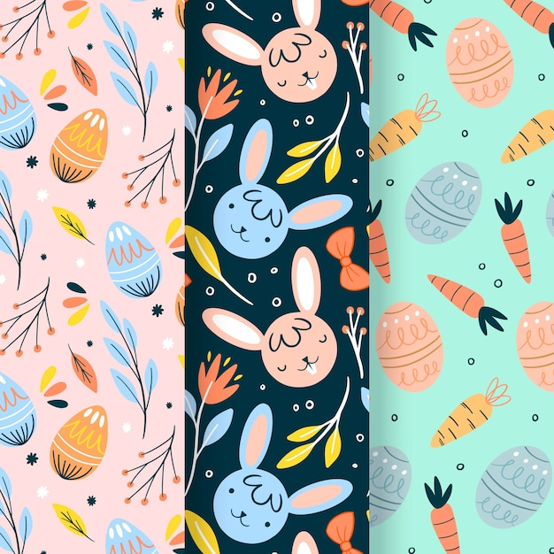 Hand drawn easter day pattern pack Free Vector