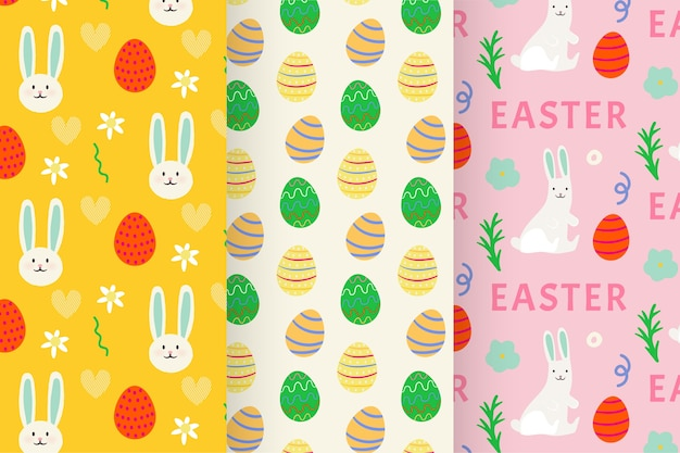 Hand-drawn easter day pattern set Free Vector