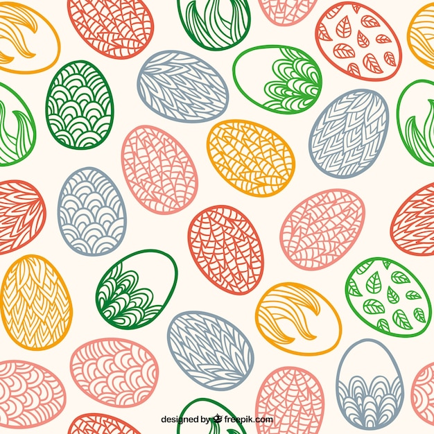 Hand Drawn Easter Eggs Pattern With Ornaments Vector