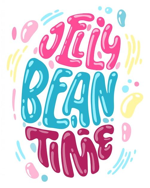 Hand drawn easter jelly bean shape lettering for postcard design. Premium Vector