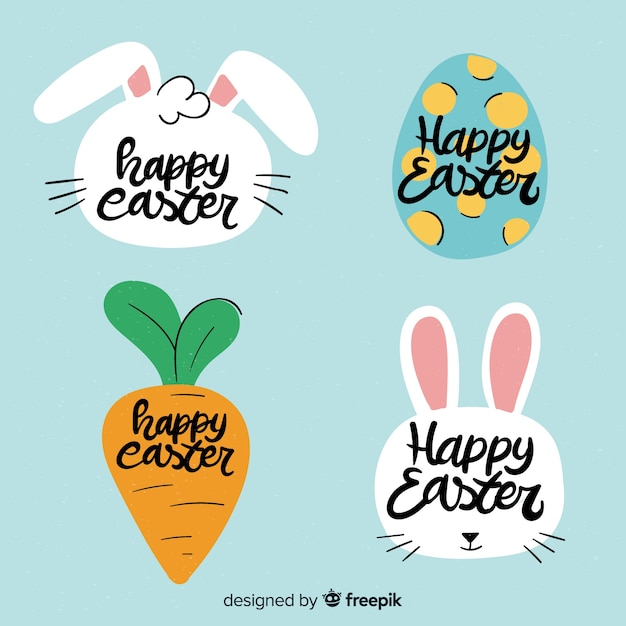Hand drawn easter label collection Free Vector