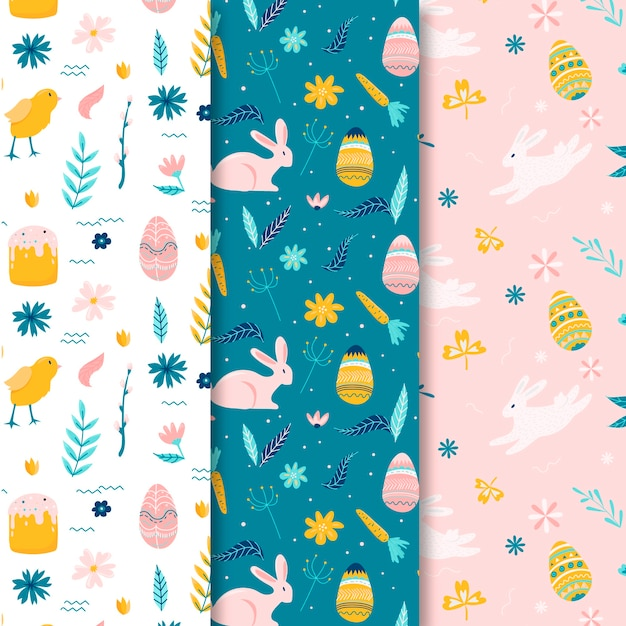 Hand drawn easter seamless pattern with eggs and flowers Free Vector
